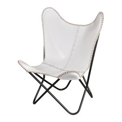 Fashion N You - White Leather Butterfly Chair - The classic leather butterfly chair is made one at at time, hand cut and sewn with a coarse, heavy-duty thread. This chair is the perfect addition to liven up any room in your home.
