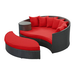 Modway Furniture - Modway Taiji Daybed in Espresso Red - Daybed in Espresso Red belongs to Taiji Collection by Modway Harmonize inverse elements with this radically pleasing daybed set. Seven plush throw pillows adorn Taiji's thick all weather orange cushions allowing for the splendorous blending of mediating elements. Find the key to attainment as you bask in a charged and unified landscape of expansiveness. Set Includes: One - Taiji Outdoor Wicker Patio Daybed One - Taiji Outdoor Wicker Patio Ottoman Seven - Taiji Outdoor Wicker Patio Throw Pillows Daybed (1), Ottoman (1)