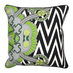 Silver Nest - Chevron Garden Down Pillow - Cotton Slub, Woven. Set of two pillow covers with hidden zippers. Feather inserts included. Inserts are 95/5. Priced individually, must be sold as set of 2.
