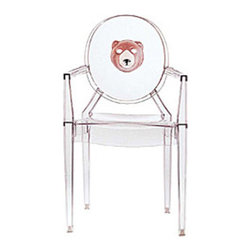 Kartell - Louis Ghost Character Chair - Louis Ghost Character Chair  is available in a Transparent finish with a Image of a Bear, Mask, Chinese Checker or Child. Despite its evanescent and crystalline appearance, Louis Ghost is stable and durable, shock and weather resistant and can also be stacked six high. This article has great charm and considerable visual appeal and brings a touch of elegance and irony to any style of home or public area. Louis Ghost chairs can be personalized in four standard themes and with other items upon the customers specific request with minimum orders of ten pieces. Please inquire for fire resistant options. 21.4 inch width x 37.2 inch height.