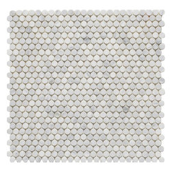 "Mission Stone Tile - LotsaDots - 3/8"" Marble Penny Round Tile, Bianco Carrara Marble - Sold per Square Foot"