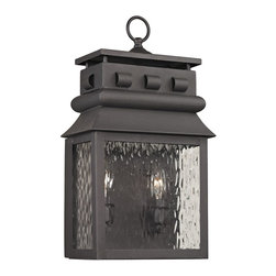 Elk Lighting - EL-47061/2 Forged Lancaster 2-Light Outdoor Sconce in Charcoal - Forged Lancaster Collection 2 light outdoor sconce in charcoal