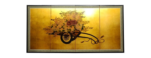 Oriental Unlimted - 36 in. Tall Flower Cart on Gold Leaf Wall Art - Screens may vary slightly in color. Evoke images of the Orient with this soft and beautiful, hand-painted gold leaf rendition of a flower cart. Subtle and beautiful hand-painted wall art for a fraction of the cost of a comparable print. Large hand-painted ink and watercolor silk screen. Song dynasty (10th century China) brush art style. Can be displayed as a privacy screen. Can be folded partly to stand upright on a table or floor. Crafted from silk covered paper, glued over 4 side-by-side lacquered wood frames. Matted with a fine Chinese silk brocade border. Comes with lacquered brass geometric hangers for easy mounting. Note that no 2 renderings are exactly the same. 72 in. W x 36 in. H