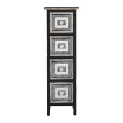SEI - Franklin 4-Drawer Storage Tower - This stunning storage tower is a splendid addition to any room in need of a little extra storage and style. The concentric rectangular patterns invigorate a room without overwhelming it. This storage tower features a black and silver finish with distressed edges and embellished drawer fronts. Acrylic crystal knobs are framed by silver studding on a black background followed by a frame of mirror; the studding is repeated before ending with a silver striped border. This lovely tower works wells in any roomentryway, hallway, living room, or bedroom. The refreshing design is perfect for homes with traditional, transitional, or modern decor.