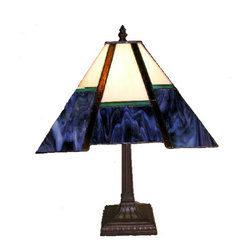 Warehouse of Tiffany - Tiffany-style Blue Mission-style Table Lamp - This Blue Mission-style table lamp has been handcrafted using methods first developed by Louis Comfort Tiffany.