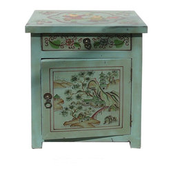 Golden Lotus - Oriental Pastel Blue Color Kid Scenery Side Table Nightstand - This is a side table / nightstand with rustic vintage pastel blue lacquer finish. A colorful scenery of kids and Asian scenery is drawn on the door, drawer and top. Matching piece vs630