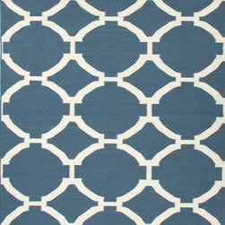 Jaipur Rugs - Flat Weave Geometric Pattern Blue Wool Handmade Rug - MR19, 9x12 - An array of simple flat weave designs in 100% wool - from simple modern geometrics to stripes and Ikats. Colors look modern and fresh and very contemporary.