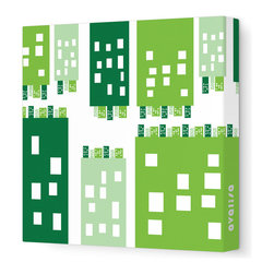 """Avalisa - Imagination - City Stretched Wall Art, 18"""" x 18"""", Green - Stretched, unframed art makes a sleek and modern design statement on your wall. And doesn't this piece put a unique, humorous spin on metropolitan life?"""
