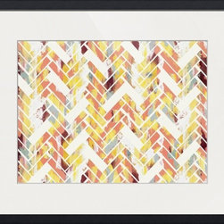 Imagekind - Wild Herringbone, Framed Art Print - Nancy draws inspiration from nature, fashion, and interior design.  Hand-painted shapes and textures pulse among the buzz of digital geometries. Pop art and mod motifs incorporated with symmetry, repetition and vibrant colors create bold patterns that make for great modern wall décor in any space.