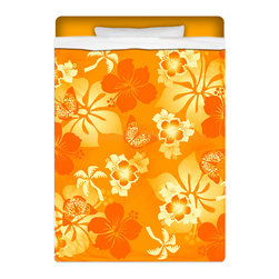 """Eco Friendly """"Orange Crush"""" Twin Size Hawaiian Hibiscus Sheet Set - """"Orange Crush"""" Twin Size Hawaiian Hibiscus Sheet Set is made of a lightweight microfiber for the ultimate experience in softness~ extremely breathable!"""