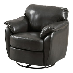 Monarch Specialties - Monarch Specialties 8063 Leather-Look Swivel Accent Chair in Charcoal Gray - Whether standing alone or used to accent a full living room ensemble, this chair will bring optimal comfort and exceptional style to your home. Designed with an overstuffed padded back, seat and arms that creates for a unique lounge chair shape, this accent chair has a sleek yet gentle contemporary style that will stand out in any room. Raised on polished chrome plated swivel base and draped in a soft grey leather-look upholstery, this chair's chic modern vibe is only further emphasized. Gentle to the eye and to the touch, this chair is stuffed with a generous amount of foam for soft support you will be just dying to sink into.