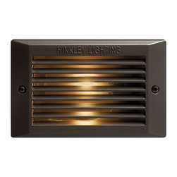 Hinkley - Hinkley One Light Bronze Step Light - 5.25 in. x 3.75 in. - This One Light Step Light is part of the Line Voltage Deck Collection and has a Bronze Finish. It is Outdoor Capable.