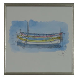 Watercolor Painting of Sitting Canoes - Original watercolor with silver frame and glass. Vibrant colors of two canoes anchored in the water.