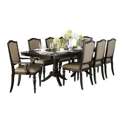 Homelegance - Homelegance Marston Double Pedestal Dining Table in Dark Espresso - Refined elegance is exemplified in the design of the Marston Collection. A double pedestal base rises to support the clipped-corner rectangular tabletop. The 96-inch table is flanked by chairs that feature turned front legs and nailhead accent, along with a neutral tone fabric that covers the seats and backs. Standing tall in support of the collection is the functional china. Featuring drawer and door storage, with oval bale pull and knob hardware, you can be assured of plentiful space in which to stow or display your tabletop accessories.