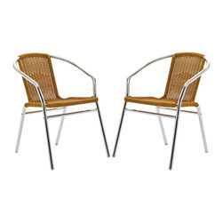 Modway - Modway EEI-944 Bistro Dining Chairs Set of 2 in Natural - Perch artfully as your mind expands to synchronize with your surroundings. Hidden reserves of strength and joy well to the surface as you artfully direct every meeting. The Chromed Rattan Cafe Chair is a sure sign of accomplishments made public for all to see.