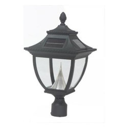Gama Sonic - Gama Sonic Outdoor Lighting. Pagoda 21 in. Solar Lamp with 8 Solar LED Bulbs, 3 - Shop for Lighting & Fans at The Home Depot. The Pagoda solar lamp is a perfect addition to your landscape setting. It comes with a 3 in. fitter mount to easily fit on any existing lamp post. A great way to replace damaged electric or gas lamps. Crafted from durable cast aluminum, it will shine from dusk to dawn and cover a wide area. A perfect way to illuminate your walkway or patio.