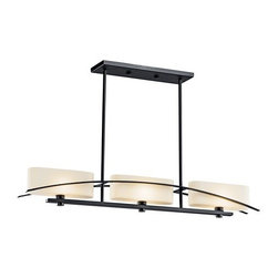 "Kichler - Kichler 42017BK Black (Painted) Suspension Suspension Single-Tier - Product Features:Fully covered under Kichler s 1-year limited warrantyFixture housing is constructed of steel - ensuring years of reliable performanceFeatures a rectangle shaped glass shadeFixture sends illumination in a downward directionLinear single-tier fixture design adds elegance to any roomStandard mounting rod included with fixture - optional extension rods will be offered upon checkoutBulbs are not included with this model - Upon checkout bulbs will be offeredUltra secure mounting assemblyProduct Specifications:Height: 5.75"" (measured from top to bottom of fixture, excludes chain length)Width: 4.75"" (measured from left most to right most point on fixture)Number of Bulbs: 3Bulb Type: IncandescentWattage Per Bulb: 60Location Rating: Dry / InsideBulb Base and Compatibility:Bulb Base - Candelabra (E12): The E12 (Edison 12mm), Candelabra Edison Screw (CES), ""Candelabra"" is a term for the small-based incandescent light bulbs used in luminaires made for lighting and decoration.Compatible Bulb Types: Nearly all bulb types can be found for the E12 Candelabra Base, options include Incandescent, Fluorescent, LED, Halogen, and Xenon / Krypton.About Kichler:Kichler has been an industry leader in the lighting industry for nearly a century. They believe that products you choose for your home should not only exceed functionality, but transform your spaces into truly inspired settings. Each product and style by Kichler is developed with award winning craftsmanship and unmatched quality. And with a wide variety of lighting fixtures and ceiling fans, KichlerÂ's collections deliver distinctive beauty throughout the entire home."