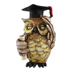 Zeckos - Brown Wise Owl Graduate Figurine 4 Inches Tall - This cute brown graduate owl figurine is a great gift for grads. The owl appears to be wiping his brow in relief of getting his degree, and officially reaching the wise stage in his life. The figuring measures 4 inches tall, 2 1/4 inches wide ad 2 1/2 inches deep. Made of cold cast resin, he has hand-painted accents.
