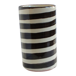 Black Striped Wine Bottle Holder - This Mexican ceramic piece has a casual, contemporary feel with its hand-painted black and white stripe pattern. Traditionally used to keep chilled wine bottles cold on the table, it would also make a stylish vase or kitchen utensil holder.