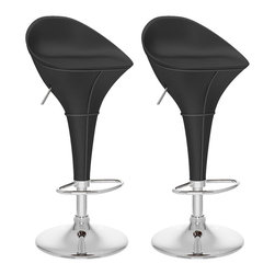 Sonax - CorLiving Round Styled Bar Stool in Black Leatherette (Set of 2) - Sonax - Bar Stools - B302VPD -Add spice to any bar or kitchen island with this round styled bar stool featuring a foam padded continuous form round styled seat with back rest finished in Black Leatherette. Complimented with visible features like the finely detailed stitch pattern, chromed base and chromed leg support and the seat adjusts to a variable bar height with ease. A great addition to any home!