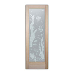 """Bathroom Doors - pd priv Interior Glass Doors Frosted - CUSTOMIZE YOUR INTERIOR GLASS DOOR!  Interior glass doors or glass door inserts.  .Block the view, but brighten the look with a beautiful interior glass door featuring a custom frosted privacy glass design by Sans Soucie! Suitable for bathroom or bedroom doors, there are no clear areas on this glass.  All surface areas are etched/frosted to be 100% opaque.  Note that anything pressed up against the glass is visible, and shapes and shadows can be seen within approx. 5-12"""" of the glass.  Anything 5-12"""" from the glass surface will become obscured.  Beyond that distance, only lights and shadows will be discernible. Doors ship for just $99 to most states, $159 to some East coast regions, custom packed and fully insured with a 1-4 day transit time.  Available any size, as interior door glass insert only or pre-installed in an interior door frame, with 8 wood types available.  ETA will vary 3-8 weeks depending on glass & door type........  Select from dozens of sandblast etched obscure glass designs!  Sans Soucie creates their interior glass door designs thru sandblasting the glass in different ways which create not only different levels of privacy, but different levels in price.  Bathroom doors, laundry room doors and glass pantry doors with frosted glass designs by Sans Soucie become the conversation piece of any room.   Choose from the highest quality and largest selection of frosted decorative glass interior doors available anywhere!   The """"same design, done different"""" - with no limit to design, there's something for every decor, regardless of style.  Inside our fun, easy to use online Glass and Door Designer at sanssoucie.com, you'll get instant pricing on everything as YOU customize your door and the glass, just the way YOU want it, to compliment and coordinate with your decor.   When you're all finished designing, you can place your order right there online!  Glass and doors ship worldwide, custom packed in-hou"""
