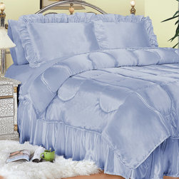 """Scent-Sation - Charmeuse Satin Comforter Set in French Blue - This luxurious charmeuse satin comforter set brings the comfort of lingerie to your bed. They are a dream to sleep on and have the silkiest feel ever created. Features: -Available in Twin, Full, Queen, King or California King sizes. -Twin set includes 1 comforter, 1 standard sham and 1 bed skirt. -Full and Queen set includes 1 comforter, 2 standard shams and 1 bed skirt. -King and California King set includes 1 comforter, 2 king shams and 1 bed skirt. -Color: French blue. -Material: 100% Woven polyester. -230 Thread count. -Satin on both sides of comforter. -Available in rich fashion colors. -bed skirt fits a 15"""" mattress. -Washes wrinkle free."""