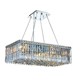 """Worldwide Lighting - Cascade 6-Light Chrome Finish Crystal Chandelier 24"""" Rectangle Chandelier Medium - This stunning 6-light Crystal Chandelier only uses the best quality material and workmanship ensuring a beautiful heirloom quality piece. Featuring a radiant chrome finish and finely cut premium grade clear crystals with a lead content of 30%, this elegant chandelier will give any room sparkle and glamour. Dual-mount option for flush or suspension. Worldwide Lighting Corporation is a privately owned manufacturer of high quality crystal chandeliers, pendants, surface mounts, sconces and custom decorative lighting products for the residential, hospitality and commercial building markets. Our high quality crystals meet all standards of perfection, possessing lead oxide of 30% that is above industry standards and can be seen in prestigious homes, hotels, restaurants, casinos, and churches across the country. Our mission is to enhance your lighting needs with exceptional quality fixtures at a reasonable price."""