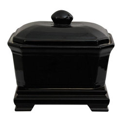 """Oriental Furniture - 8"""" Solid Black Porcelain Covered Jar - Finished with a high gloss black monochrome, perfect for modern and minimalist interior design. The practical rectangular shape makes an attractive center piece on a coffee or sofa table, buffet, or credenza. Lid is removable for the storage of candies, potpourri or other small items."""