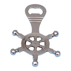"""Handcrafted Model Ships - Chrome Ship Wheel Bottle Opener 5"""" - Chrome Bottle Opener - The Hampton Nautical Chrome Ship Wheel Bottle Opener 5"""" is the perfect addition to any nautical themed kitchen. This metal bottle opener will open even the most difficult of bottles with ease. This bottle opener weighs one pound and has a great shine to it."""