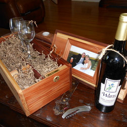 Wine Gift Box - Picture Frame/ Locking Wedding/ Anniversary Wine Gift Box