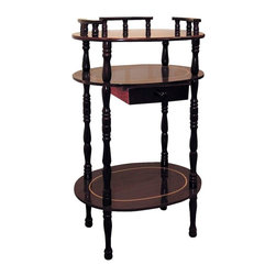 ORE International - 3-Tier Oval Accent Table in Cherry Finish - Rail top. Turned legs . Storage drawer. Oval shape shelves. Made from wood composite. 15.5 in. W x 11.5 in. D x 28 in. H (10 lbs.)A decorative gallery that's perfect for stashing a phone book.