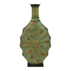 Metal Vase Green with Unique Styling - Get hold of this green metal vase if you are looking for a perfect vase that is a sure to give your interiors an aesthetic appeal with its presence. It is a perfect accessory to accessories your lively living room, or your cozy bedroom. Keep beautiful flowers in this exquisite vase and add value to your home decor. This elegant metal vase is exclusively designed for the ones with a unique sense of styling. This long oval shaped exquisite vase with or without flowers would look elegant. The green color along with the metallic spots gives it an ethnic look. Its elongated design with a slim neck ensures that you win compliments. It is perfectly designed to be kept on the side table or the bar cabinet. It is lightweight and compact which ensures that you can move it easily when needed.. It comes with following dimensions