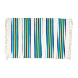 Traders and Company - 100% Cotton Flat Weave Blue White & Yellow Striped 2'x3' Rug - Seaside - Patterned with wide and narrow stripes in a pleasing color combination.  Great for a sun room or scatter rug at a beach house.