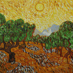 "overstockArt.com - Van Gogh - Olive Trees with Yellow Sun and Sky - 20"" X 24"" Oil Painting On Canvas Hand painted oil reproduction of one of the most famous Van Gogh paintings, Olive Trees with Yellow Sun and Sky. The original masterpiece was created in 1889. Today it has been carefully recreated detail-by-detail, color-by-color to near perfection. Why settle for a print when you can add sophistication to your rooms with a beautiful fine gallery reproduction oil painting? Vincent Van Gogh's restless spirit and depressive mental state fired his artistic work with great joy and, sadly, equally great despair. Known as a prolific Post-Impressionist, he produced many paintings that were heavily biographical. This work of art has the same emotions and beauty as the original by Van Gogh. Why not grace your home with this reproduced masterpiece? It is sure to bring many admirers!"