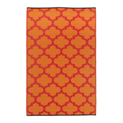 None - Prater Mills Indoor/ Outdoor Reversible Orange/ Red Rug - Transform the look of your patio or deck with this red outdoor rug. Made from recycled plastics,this lovely piece is moisture and mildew resistant. It is available in a wide range of sizes,allowing you to select the one that is perfect for your space.