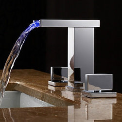Bathroom Faucets - Two Handles LED Hydroelectric Waterfall Sink Faucet