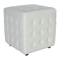 Cortesi Home - Izzo Cube Ottoman - The Izzo  cube ottoman r is an easy way to update the look of your home. It is upholstered  bonded leather or fabric, with square tufting. It also features plastic non marking feet. Lightweight yet durable.