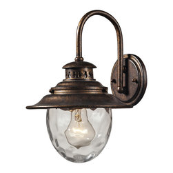 Elk Lighting - Searsport 1-Light Outdoor Sconce in Regal Bronze - The simple, yet functional design of the Searsport collection features cast aluminum construction finished in regal bronze and a water glass diffuser.