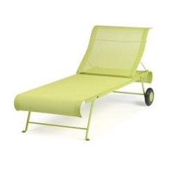 patio furniture and outdoor furniture Fermob Dune Sunlounger With Wheels