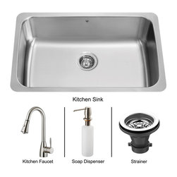 Vigo - Vigo Undermount Stainless Steel Kitchen Sink, Faucet, Strainer and Dispenser - Get everything you need with this complete kitchen set that will revitalize the look of your kitchen