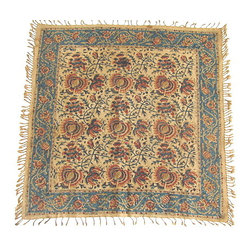 Consigned Vintage Tribal Hand-Printed Textile - Vintage, handmade, self-fringed Persian textile with floral motif.   Adds a touch of exoticism to any decor.  Use as is as an accent textile or fabricate into a statement-piece pillow.
