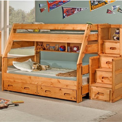 Chelsea Home - Chelsea Home Twin Over Full Bunk Bed with Stairway Chest - Cinnamon Multicolor - - Shop for Bunk Beds from Hayneedle.com! Freeing up valuable play space the Chelsea Home Twin Over Full Bunk Bed with Stairway Chest - Cinnamon has a smart space-saving loft layout. This bed set is made to last from solid Ponderosa pine in a warm cinnamon finish. Your kids will have plenty of space for their prized knick-knacks in the integrated storage areas. About Chelsea Home FurnitureProviding home elegance in upholstery products such as recliners stationary upholstery leather and accent furniture including chairs chaises and benches is the most important part of Chelsea Home Furniture's operations. Bringing high quality classic and traditional designs that remain fresh for generations to customers' homes is no burden but a love for hospitality and home beauty. The majority of Chelsea Home Furniture's products are made in the USA while all are sought after throughout the industry and will remain a staple in home furnishings.