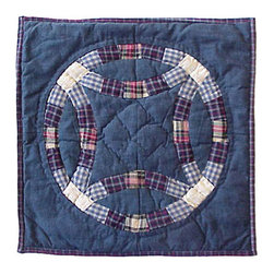 Patch Quilts - Blue Double Wedding Ring Toss Pillow 16 x 16 Inch - Decorative patchwork quilted pillow  - Accents with ensembles and bedding items from Patch Magic,   - Machine washable  - Line or Flat dry only Patch Quilts - TPBDWR