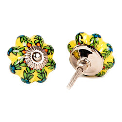 MarktSq - Yellow Melon Knob with Floral Pattern - Set of 4 - Delightful ceramic knob with a bright yellow background and a floral pattern in contrasting green and blue with a hint of orange. Sold as a set of 4.