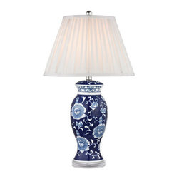Dimond Lighting - Dimond Lighting D2474 Blue & White 1 Light Table Lamp with White Faux Silk Shade - Features: