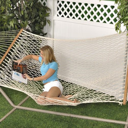 "Bliss Hammock Classic Cotton Rope Hammock - An American classic! This Bliss Hammock Classic Cotton Rope Hammock conforms to the shape of your body and keeps you cool in the shade at the same time. Made with soft triple weaved cotton rope measuring 6mm for comfort and durability from the elements. The hand woven and double braided sides provide the perfect contour. Fits 2 comfortably with a 60"" bed width and dries quickly. This classic is calling your name!"