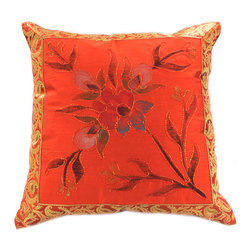 """Decorative Pillow Covers - Unique """"Hand Painted"""" Pillow Cover. Orange color (Set of 2). Exclusive designs, great Decor for Halloween."""