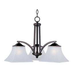 Aurora-Down Light Chandelier - Straight lines and curves make this contemporary series a classic. Square metal tubing finished in your choice of Oil Rubbed Bronze or Satin Nickel support tapered square Frosted glass shades.