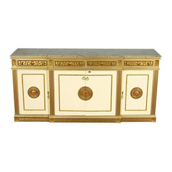 7Ft Wide Gold/Cream Neoclassical Buffet Sideboard Server w/ Marble Top - Gold/cream finish