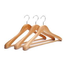 J.S. Hanger - J.S. Hanger®Extra Wide Rounded Shoulders Wood Coat Hanger, Natural,3-pack - Feature: